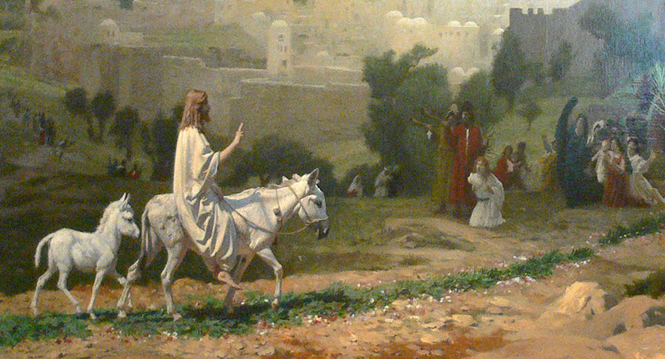 Image result for image of jesus riding into jerusalem on two donkeys